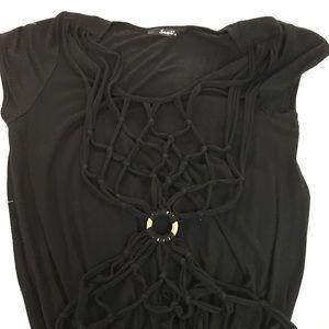 Black cotton dress net front